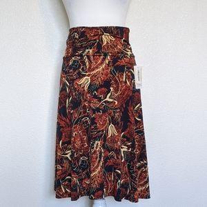 LulaRoe Azure Midi Skirt in Burnt Orange Floral SM